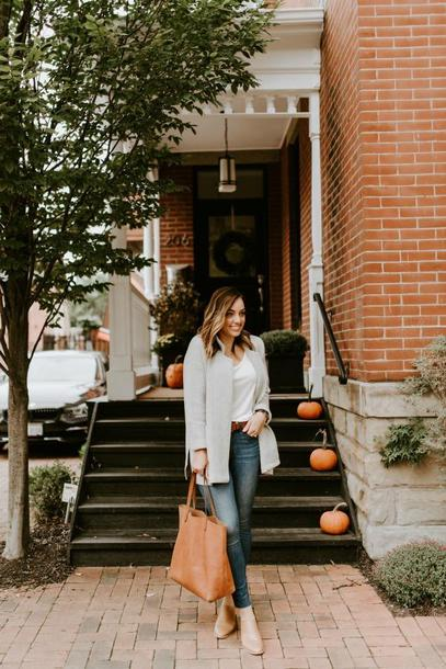 sharingmysole blogger sweater coat t-shirt belt bag jewels fall outfits tote bag leather tote bag booties