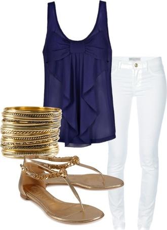 shirt navy blue blouse bow summer cami style fashion ruffle