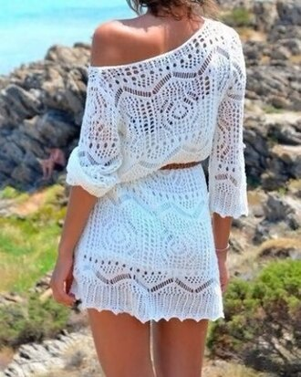 top white sexy summer cute girly dress cool style stylish beach cover up lace cute top lace dress lace top summer dress hollow out lace hollow t-shirts summer outfits summer top white beach cover up dress