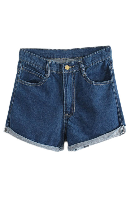 ROMWE | ROMWE Rolled-up Pocketed Blue Shorts, The Latest Street Fashion