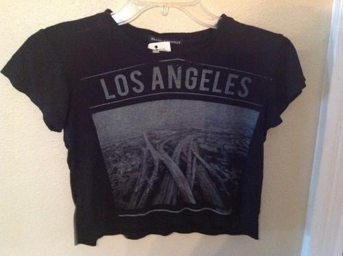 Brandy Melville Los Angeles Crop Top New Black Shirt Blouse | eBay