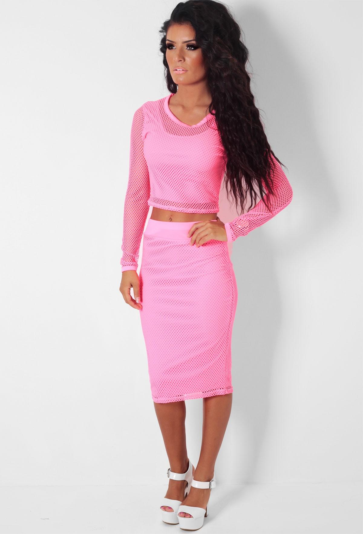Watermelon pink fishnet mesh midi skirt crop top set for Boutique tops
