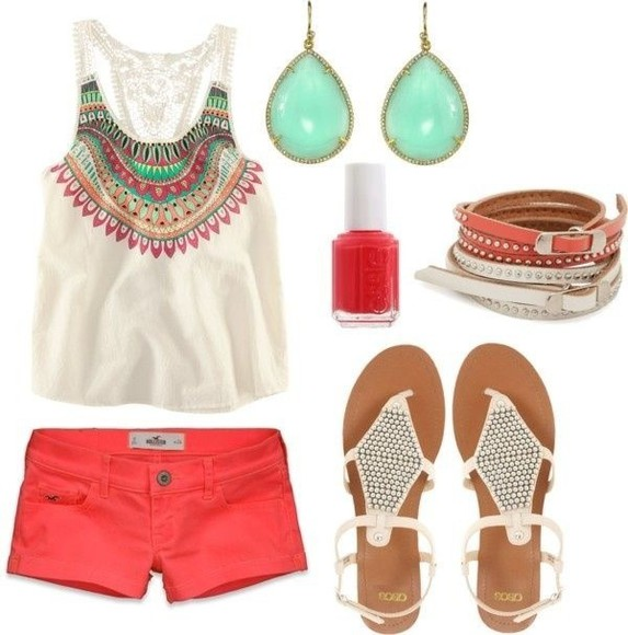 tank top colorful aztec lace back flowy tank cropped coral jewels shoes blouse printed blouse shorts sandals nail polish earrings jewlery bracelets