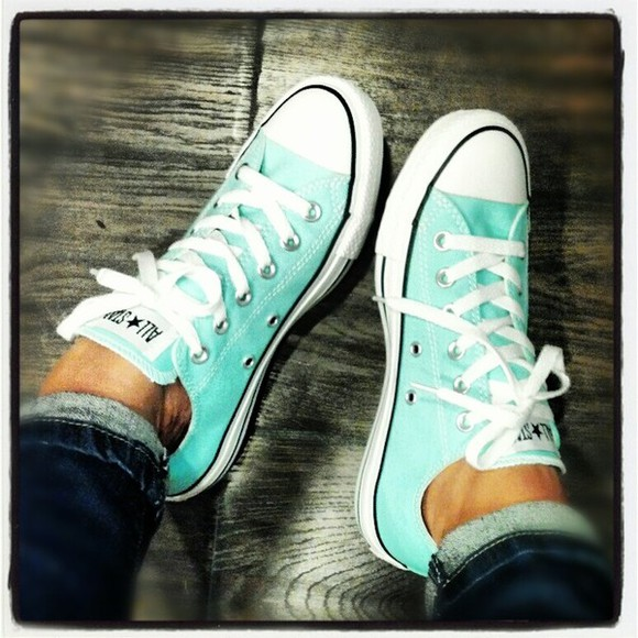 light blue aqua blue shoes cute aquamarine new converse chuck taylor all stars