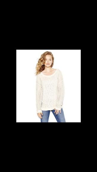 white sweater sweater cream style top fashion