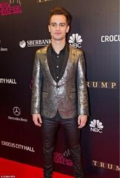 jacket,brendon urie,mens blazer,metallic,silver