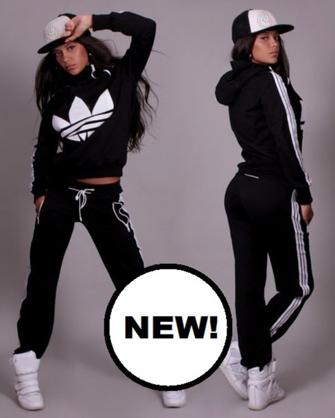 Jumpsuit Adidas 3 Stripes Black White Pants Sweater Tracksuit Sweatsuit Outfits Swag ...