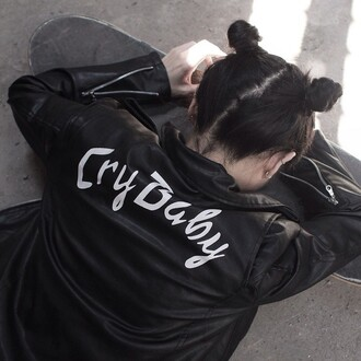 jacket leather jacket crybaby cyber ghetto soft ghetto clothes pastel goth black black jacket grunge white 90s style vintage cry baby melanie martinez coat