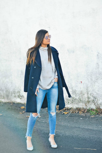 to be bright blogger coat blouse jeans shoes blue coat grey sweater winter outfits pumps