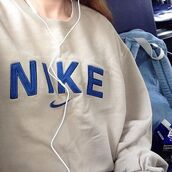 jacket,white sweater,nike sweater,new,good,top,lovely,trendy,jeans#skirt#blue#beautiful#want,nike jacket,sweater,nike,vintage,sweatshirt,pullover,white,blue,cream,aesthetic,pale,soft,tumblr,grunge,health goth,blue shirt,jumper,navy,beige,hat,tan,throw over
