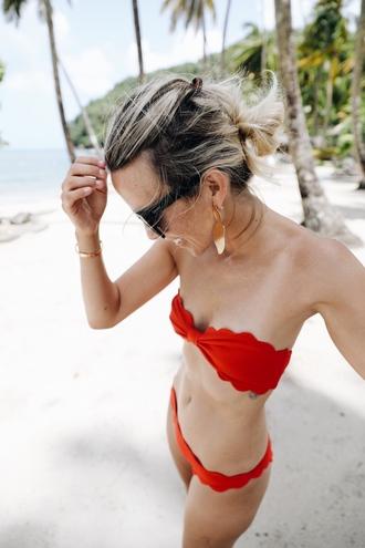 swimwear tumblr scalloped swimwear two piece bikini bikini top bikini bottoms red bikini earrings gold earrings accessories accessory jewels