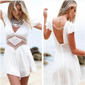 jumpsuit white v neck backless white jumpsuit sexy jumpsuit lace party sexy party jumpsuit angel blend deep v neck summer beach similar dress like dress lady fashion newly girly necklace amzing best outfit fashion blogger get it shop shorts skirt shoes