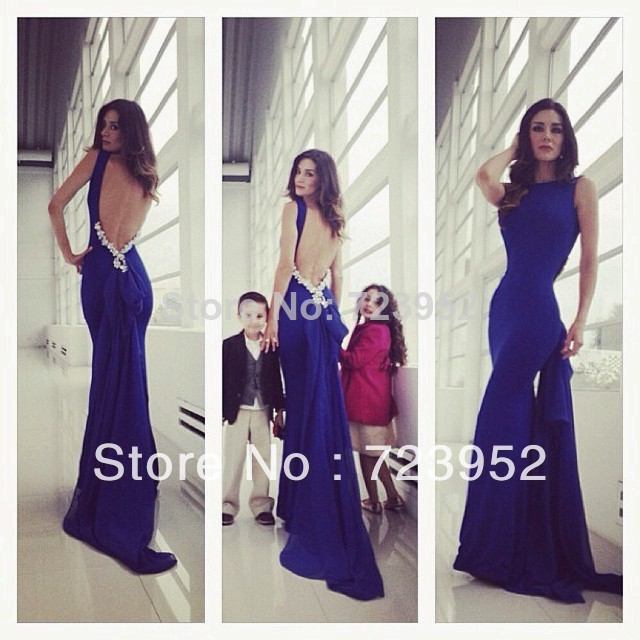 Aliexpress.com : buy 2014 sexy backless mermaid evening dresses open back royal blue chiffon sheath fitted formfitting long train formal prom gowns from reliable gown dresses cheap suppliers on suzhou aee wedding dress co. , ltd