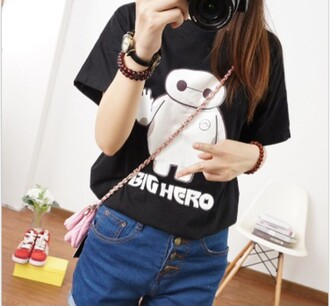 t-shirt baymax movies black hipster