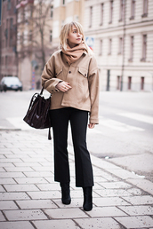 chaloth,blogger,jacket,beige,pants,bag,sweater,shoes