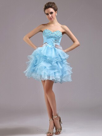 prom prom dress special occasion dress bridesmaid blue blue dress sky blue sweetheart dress strapless strapless dress cute dress short short dress