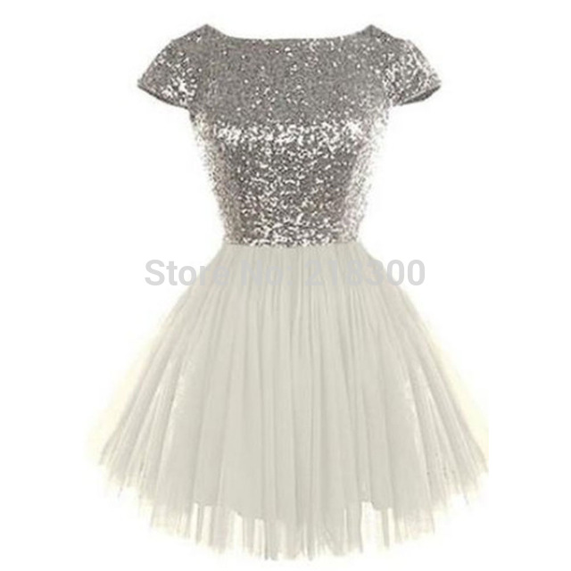 Aliexpress Buy Silver Sequin Backless White Prom Dresses With