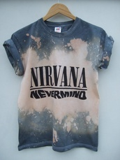 t-shirt,acid wash,nirvana t-shirt,nirvana,dipdye sweater,dip dyed,nirvana nevermind,nevermind,iloveit,material