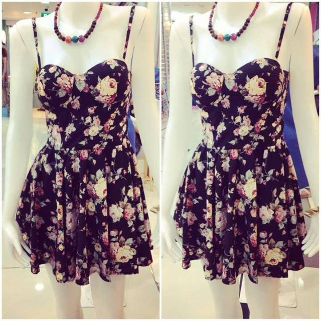 Flirty Floral Bustier Dress  eBay