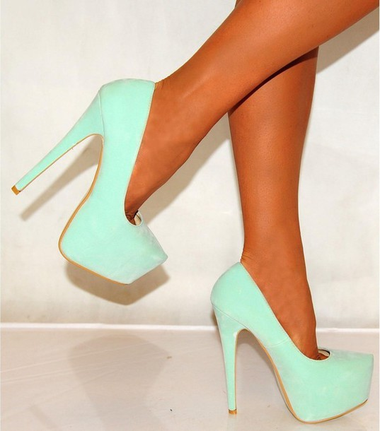 belt blue high heels