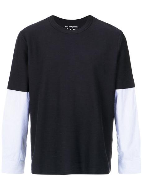 À La Garçonne t-shirt shirt t-shirt long women layered cotton blue top