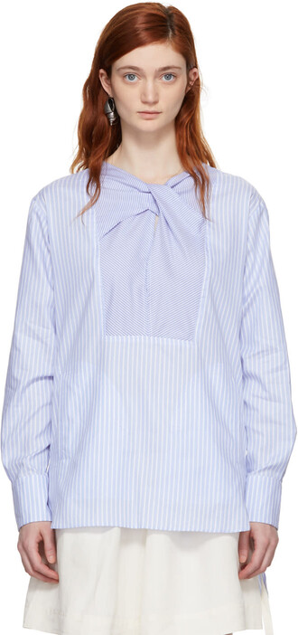 blouse white blue blue and white top