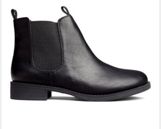 shoes black leather low heel ankle boots