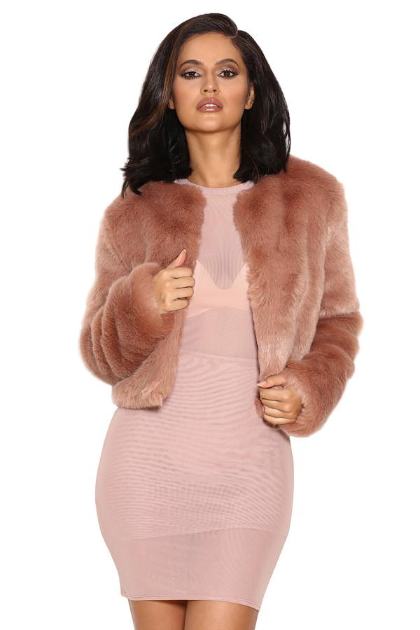 Coat: fur, fur coat, faux fur, faux fur jacket, nude, casual ...