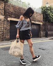 top,tumblr,off the shoulder,off the shoulder top,gingham,skirt,mini skirt,leather skirt,shoes,slip on shoes,bag,mesh,net