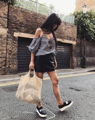 top tumblr off the shoulder off the shoulder top gingham skirt mini skirt leather skirt shoes slip on shoes bag mesh net