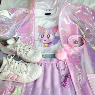 jacket sailor moon translucent anime fairy kei pop kei shoes top t-shirt pokemon pink purple rainbow colorful holographic girly