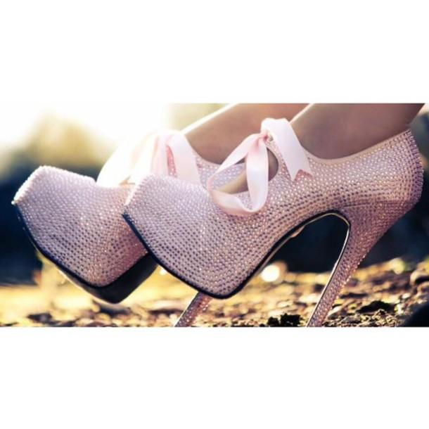 shoes pink shoes sparkle sparkle heels bow heels high heels bow pink high heels sparkly pumps pink ribbon
