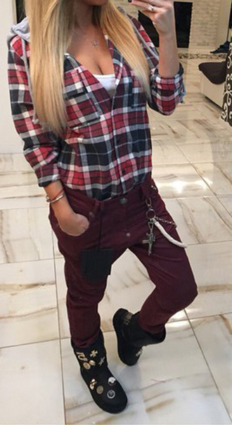 shirt flannel shirt boho shirt tumblr shirt striped shirt checkered checkered shirt red jacket checked shirt checkered top warm fleece pants skinny pants harem pants set 2 piece set women outfit outfit idea tumblr outfit fall outfits winter outfits cute outfits flannel