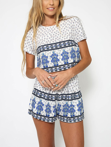 3dec846325fc romper mynystyle trendy tribal pattern pretty summer outfits boho chic  casual two-piece crop streetwear