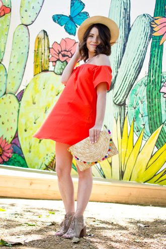 champagne&citylights blogger dress shoes bag hat red dress off the shoulder dress clutch ankle boots spring outfits