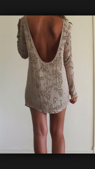sparkly sequin dress long sleeve dress short taupe low cut back dress