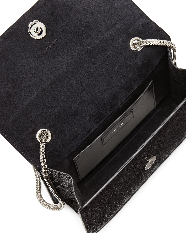 Betty Mini Embossed Chain Shoulder Bag, Black