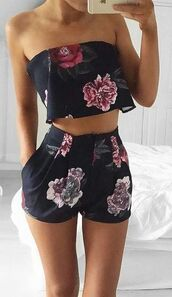 romper,floral,set,two-piece,cute,black,flowers,fashion,trendy,help asap,outfit,whole outfit,holidays,matching set,summer