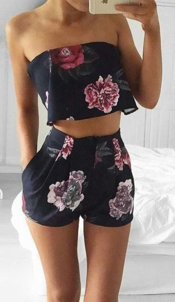 romper floral set two-piece cute black flowers fashion trendy help asap outfit whole outfit trendy holidays holidays matching set summer