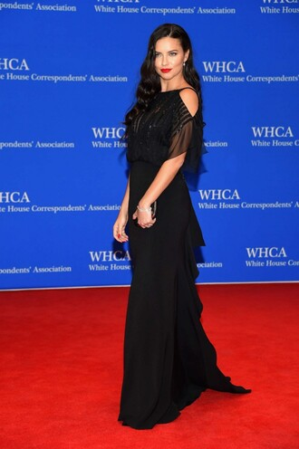 dress gown prom dress adriana lima black dress black