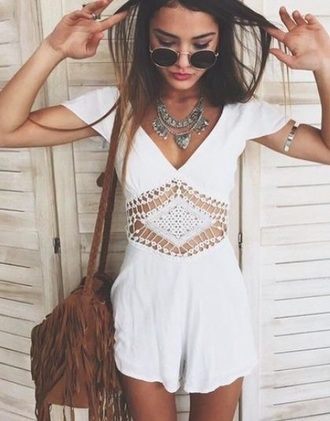 romper white white dress white top white crop tops white lace dress white lace lace summer spring outfit tumblr outfit