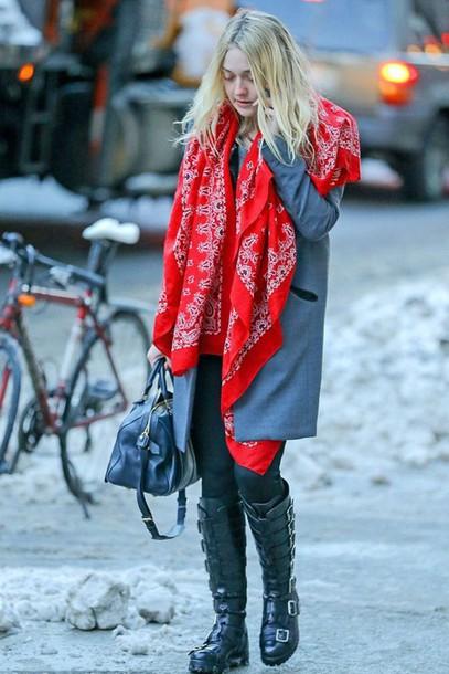 coat boots dakota fanning printed scarf