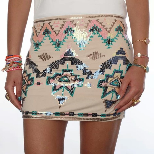 skirt pailette aztec print short mini fashion