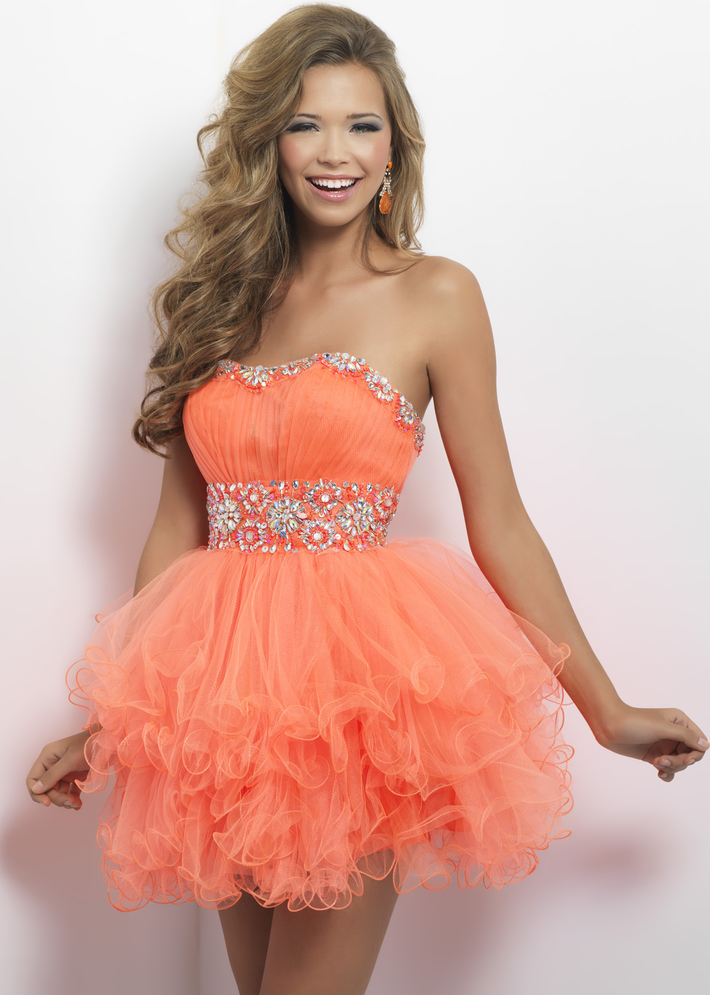 Tangelo orange strapless beaded gown
