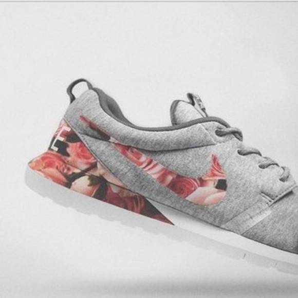 shoes grey shoes nike roses custom shoes floral