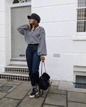 sweater,hat,tumblr,stripes,striped sweater,denim,jeans,blue jeans,sneakers,low top sneakers,bag,black bag,fisherman cap