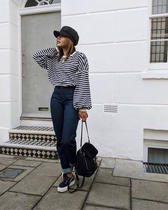 sweater hat tumblr stripes striped sweater denim jeans blue jeans sneakers low top sneakers bag black bag fisherman cap