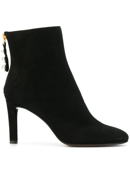 L'Autre Chose zip women pearl ankle boots leather suede black shoes