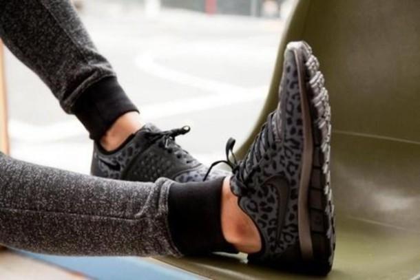 shoes, leopard print, grey, black, nike, tick - wheretoget