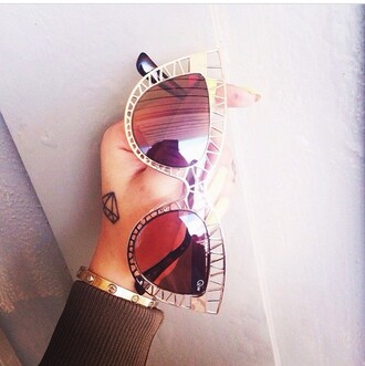 sunglasses fashion style cat eye gold